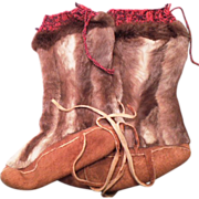 SOLD Original Old Handmade Eskimo Boots Unworn - Red Tag Sale Item