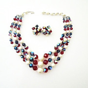 SALE Laguna Crystal 3 strand necklace & earrings Bright red and blue, white bead Demi Parure