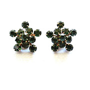 Weiss Christmas green Rhinestone snowflake star earrings