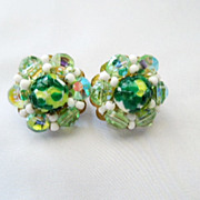 HOBE' Art Glass and Crystal Shades of Green Button Earrings