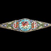 Italian Micro Mosaic bar brooch pin