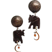 Wonderful 1980's carved wood Elephant Earrings with copper moon