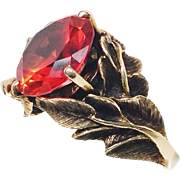 """14K Solid Gold Padparadschah Sapphire STRELL """"Philodendron"""" 11.6g Ring RARE!"""