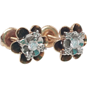 Outstanding Diamond flower cup Victorian to Edwardian Vintage Earrings 14K