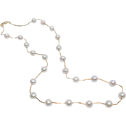 14K Akoya Cultured Pearl and Gold Box Chain Necklace, 17 Inches Long