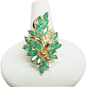 Breathtaking Large 14K Natural Emerald diamond cluster Ring Sz 7.5