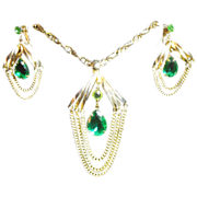 Amazing 70's Big and Bold Emerald Green Faceted teardrop Lucite Necklace Earrings