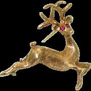 Vintage 18K Deer Brooch