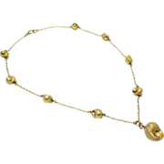 Antique  14k Seed Pearl Shell Necklace