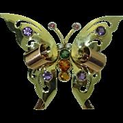 Rare Retro 1944 Gem Studded 14K Butterfly Brooch, signed