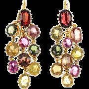 Antique 15K/12K Gold Natural Zircon & Garnet Earrings