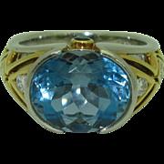 Original Krementz 18K Platinum Aquamarine Ring