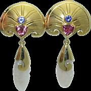 Paula Crevoshay Vintage 18K Gold Earrings
