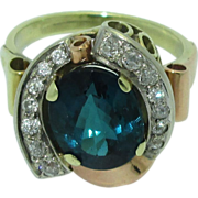 Spectacular 14K Retro Tourmaline & Diamond Ring