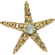 Antique Victorian 18k Star & Rose cut Diamond Brooch/Pendant