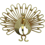 14K Retro Turkey or Peacock Brooch