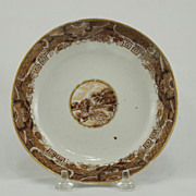 Chinese Export Porcelain Brown Fitzhugh Saucer with Landscape Scene, Circa 1820