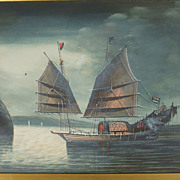 China Trade Gouache on Paper Painting, Circa 1820, Junk on Calm Sea in Moonlight