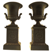 Pair of French Cast Iron Campana Urns, signed Mignon, Circa 1850