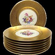 "SALE Set (8) Gold, Floral Pickard 10 3/4"" Service Plates"