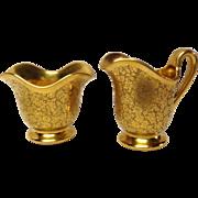 Pickard China Rose & Daisy Gold Sugar & Creamer Set