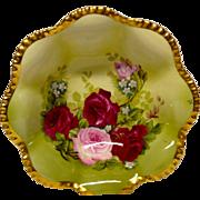 """Stunning Royal Austria """"Rose Pompadour"""" Artist Signed Bowl, Pink, Red Roses"""