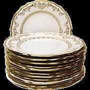 Set (12) Antique Copeland Spode Gold Encrusted Service Plates