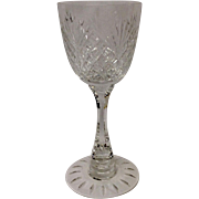 Rare Hawkes Crystal Strawberry Diamond & Fan Claret Stem #7240