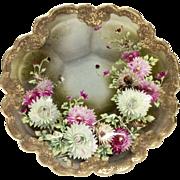 Stunning Hand Painted  Chrysanthemums Gilded Fruit Bowl