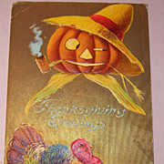 P. Sanders Thanksgiving Postcard, Turkey, JOL, 1908
