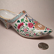 Antique Faience Woman's Tin Glazed Shoe, Butterflies & Flowers