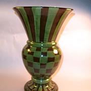 MacKenzie-Childs Heather Huge Brown & Green Check Vase