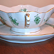 Herend Chinese Bouquet Green Gravy Boat