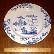 Large Mid 18th Century Delft Blue White Charger