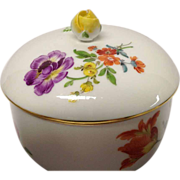REDUCED Vintage Meissen Floral Covered Sugar, Pattern 8401,Flowers