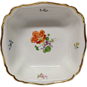 REDUCED Vintage Meissen Floral Square Bowl, #K20, Flowers