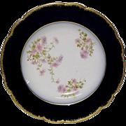 Lovely Wm. Guerin Limoges Cobalt, Gold, Floral Rim Soup