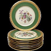"Set (8) Green, Gold, Floral Pickard 10 3/4"" Service Plates"