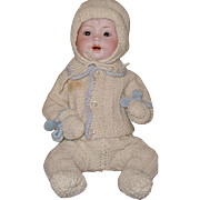 Antique German baby doll by Herzi-13 inch/brown sleep eyes, wonderful knit outfit/open mouth/e