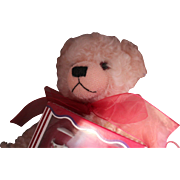 "HERMANN BEAR, ""ENGLISH ROSE WITH TEA SET"".  LARGE PINK MOHAIR JOINTED BEAR IN ORIGIN"