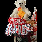 "Steiff Bear - ""Circus Clown"" - white mohair - excellent condition"