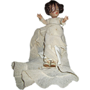 """Vintage wedding dress composition doll unmarked oil cloth shoes 11"""""""