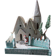 Beautiful 1940's Putz style house with bisque Santa Claus