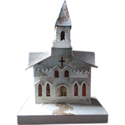 """1940's Putz Village Church cathedral Christmas display 12"""" tall Glitter mica"""