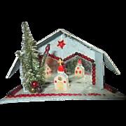 1940's Christmas Putz scene cottage mica mirrored church decoration