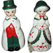 Vintage Christmas couple bells MIB Dickens characters