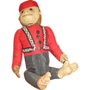 Vintage Schuco Bellhop yes no monkey chimpanzee old stuffed toy