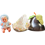 Baby in a pear, Furga 1960's vintage miniature doll made in Italy