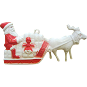 Celluloid Acetate vintage 1940's miniature Santa CLaus and Reindeer display
