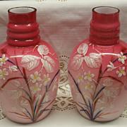 1800's Victorian Peachblow Art Glass Enameled Mirror Vases